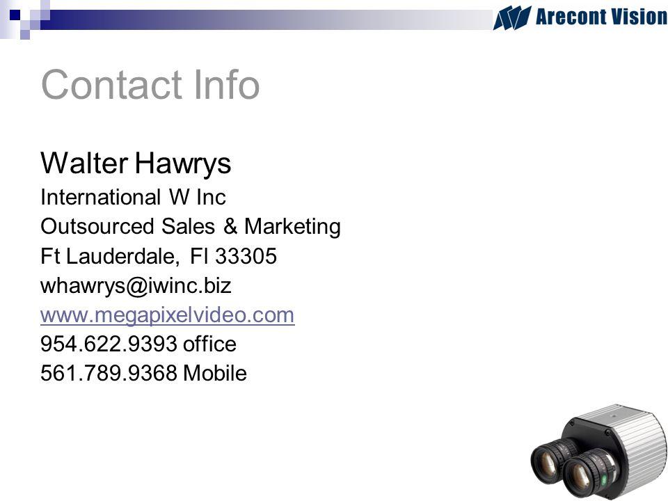 Contact Info Walter Hawrys International W Inc Outsourced Sales & Marketing Ft Lauderdale, Fl 33305 whawrys@iwinc.biz www.megapixelvideo.com 954.622.9