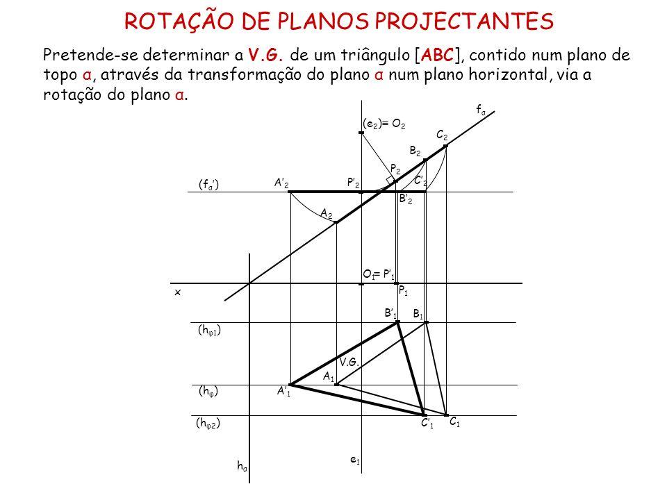 ROTAÇÃO DE PLANOS PROJECTANTES Pretende-se determinar a V.G. de um triângulo [ABC], contido num plano de topo α, através da transformação do plano α n