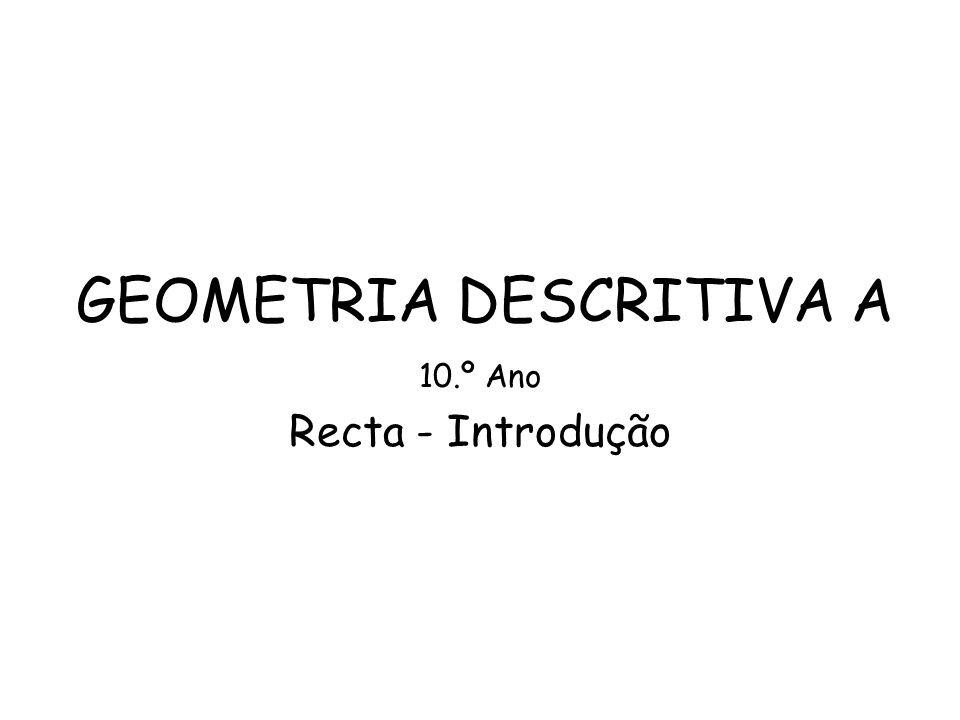 GEOMETRIA DESCRITIVA A 10.º Ano Recta - Introdução