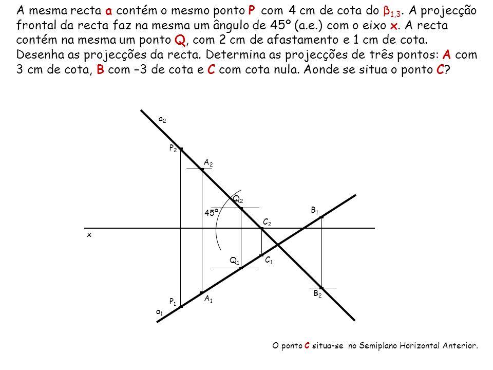 A mesma recta a contém o mesmo ponto P com 4 cm de cota do β 1,3. A projecção frontal da recta faz na mesma um ângulo de 45º (a.e.) com o eixo x. A re