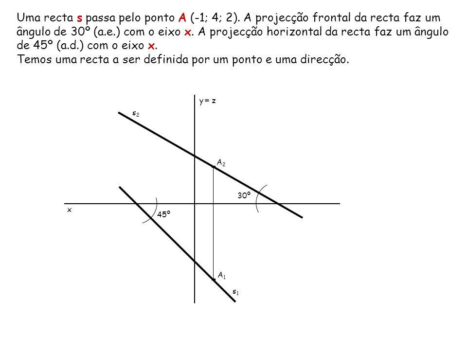 Uma recta s passa pelo ponto A (-1; 4; 2). A projecção frontal da recta faz um ângulo de 30º (a.e.) com o eixo x. A projecção horizontal da recta faz