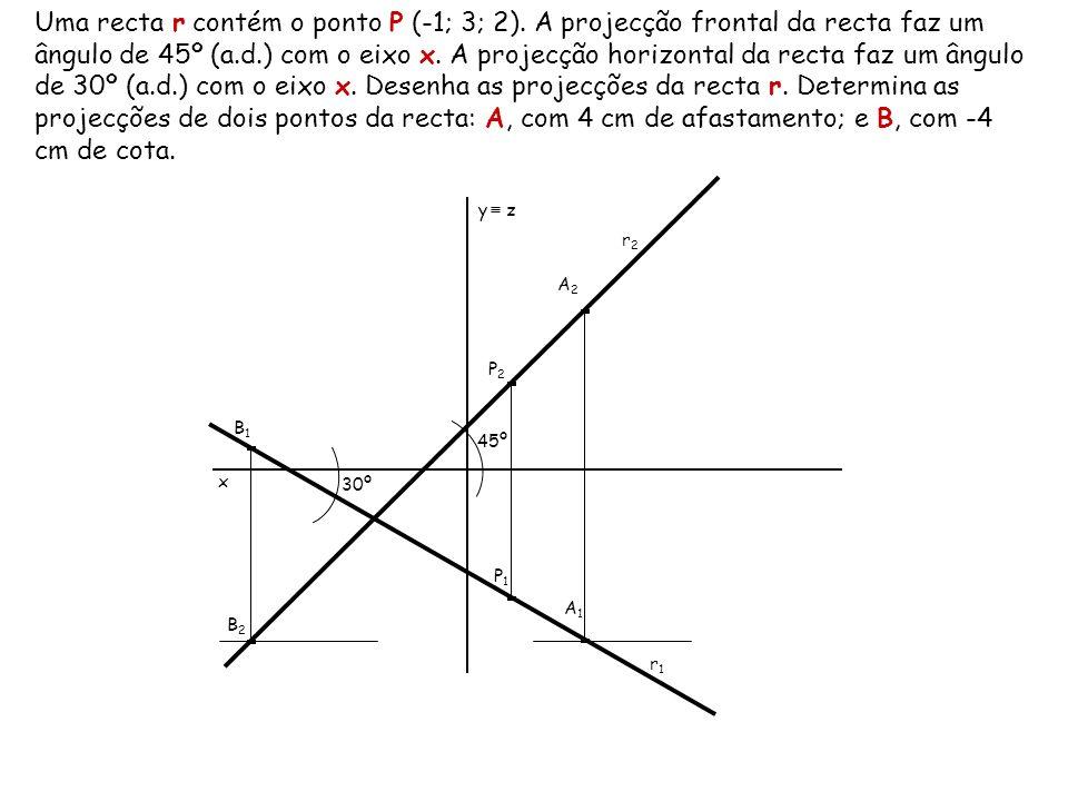 Uma recta r contém o ponto P (-1; 3; 2). A projecção frontal da recta faz um ângulo de 45º (a.d.) com o eixo x. A projecção horizontal da recta faz um