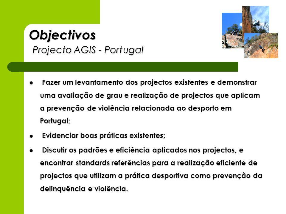 Objectivos Projecto AGIS - Portugal Fazer um levantamento dos projectos existentes e demonstrar uma avaliação de grau e realização de projectos que ap