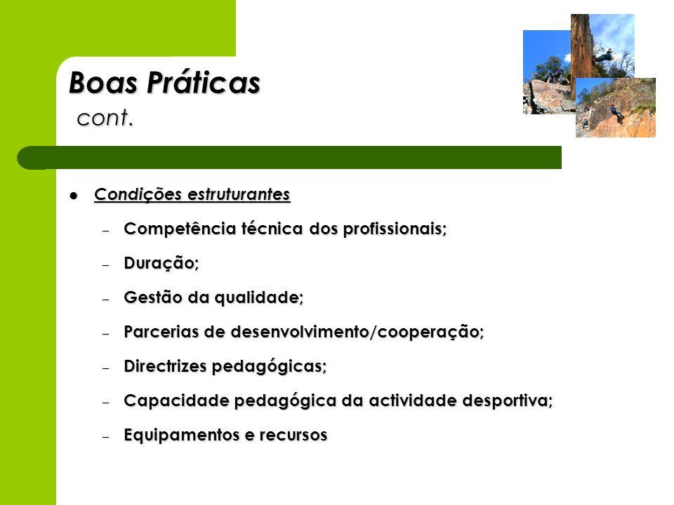 Boas Práticas cont. Condições estruturantes Condições estruturantes – Competência técnica dos profissionais; – Duração; – Gestão da qualidade; – Parce