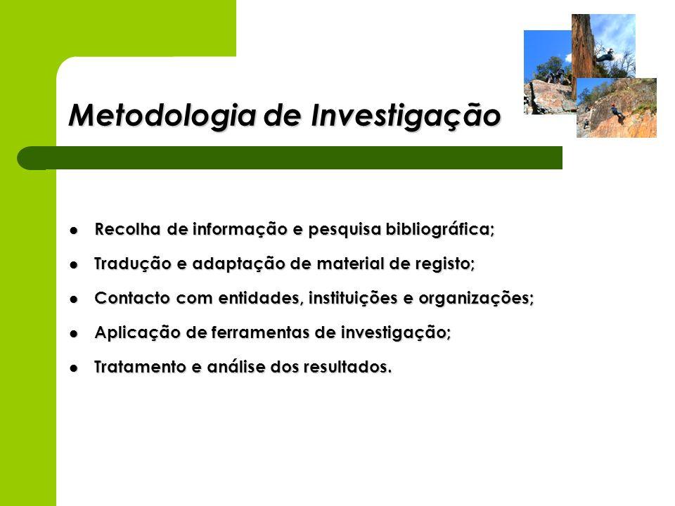Metodologia de Investigação Recolha de informação e pesquisa bibliográfica; Recolha de informação e pesquisa bibliográfica; Tradução e adaptação de ma