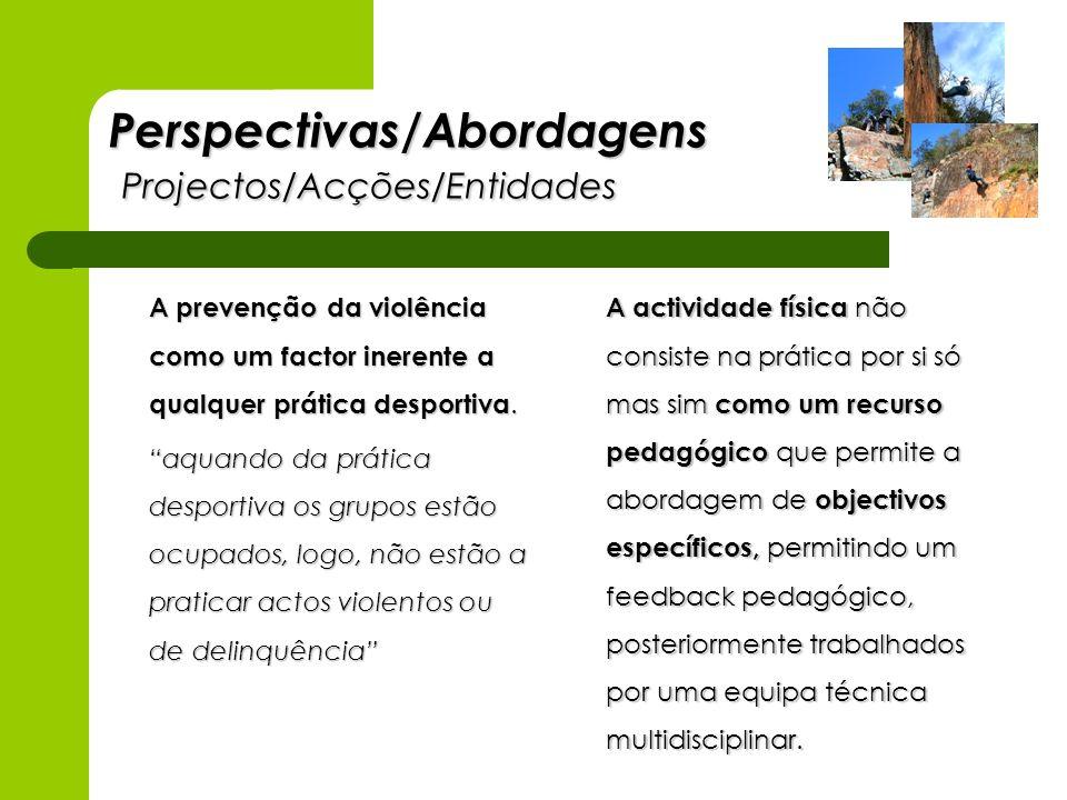 Perspectivas/Abordagens Projectos/Acções/Entidades A prevenção da violência como um factor inerente a qualquer prática desportiva. aquando da prática