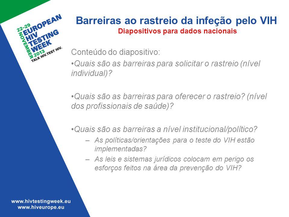 Barreiras ao rastreio da infeção pelo VIH Diapositivos para dados nacionais Conteúdo do diapositivo: Quais são as barreiras para solicitar o rastreio