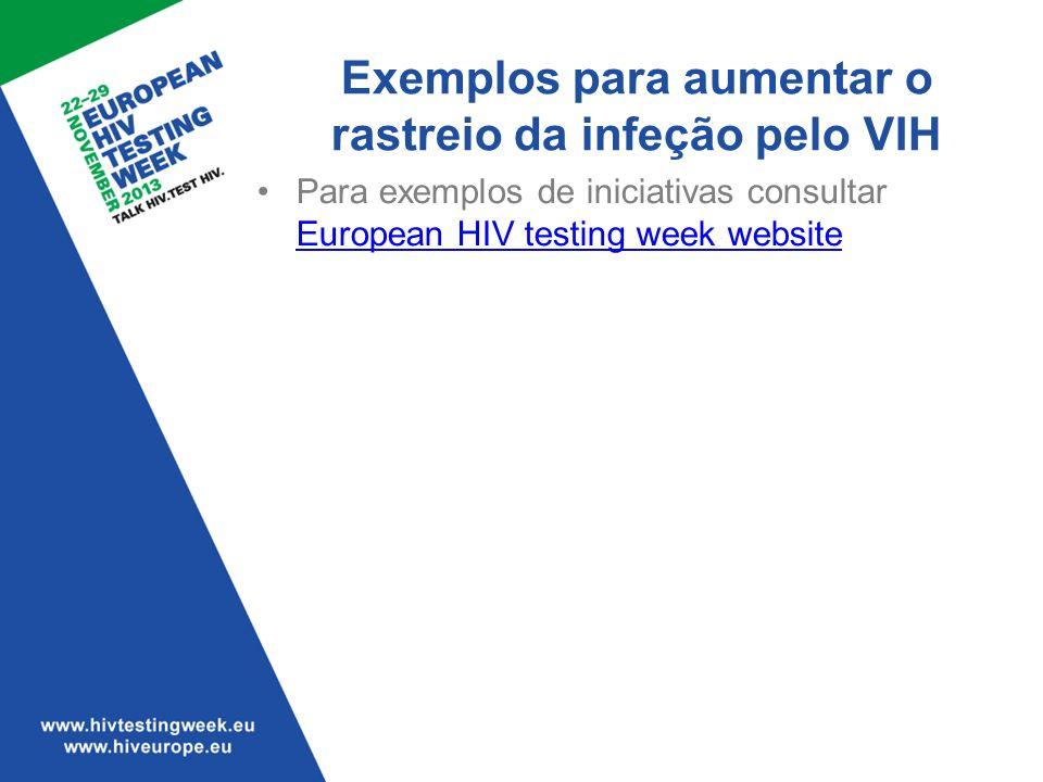 Exemplos para aumentar o rastreio da infeção pelo VIH Para exemplos de iniciativas consultar European HIV testing week website European HIV testing we