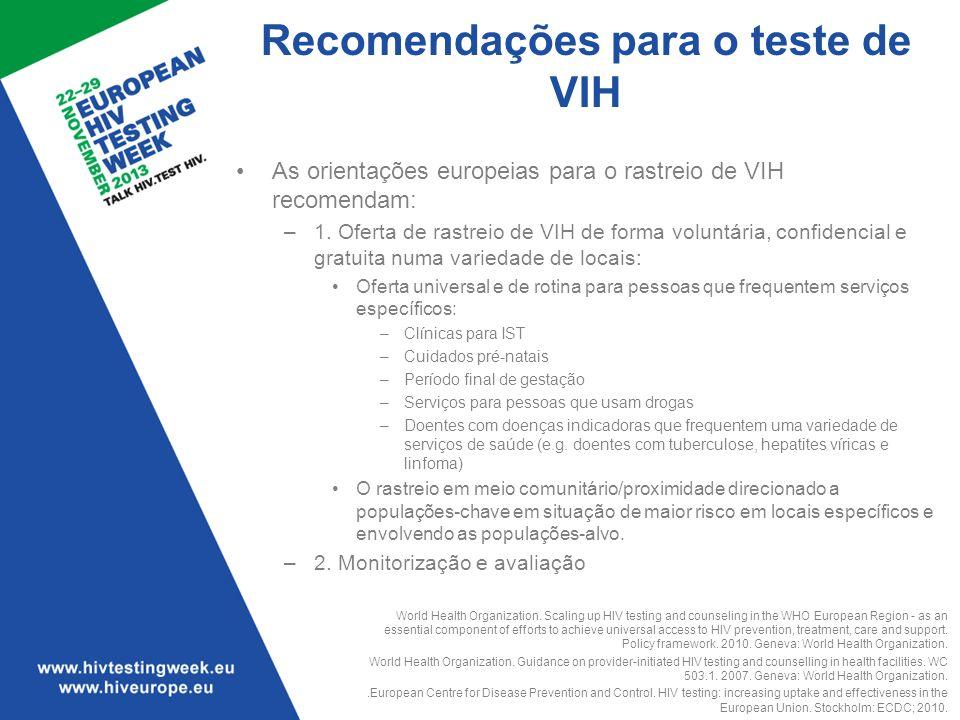 Recomendações para o teste de VIH As orientações europeias para o rastreio de VIH recomendam: –1. Oferta de rastreio de VIH de forma voluntária, confi