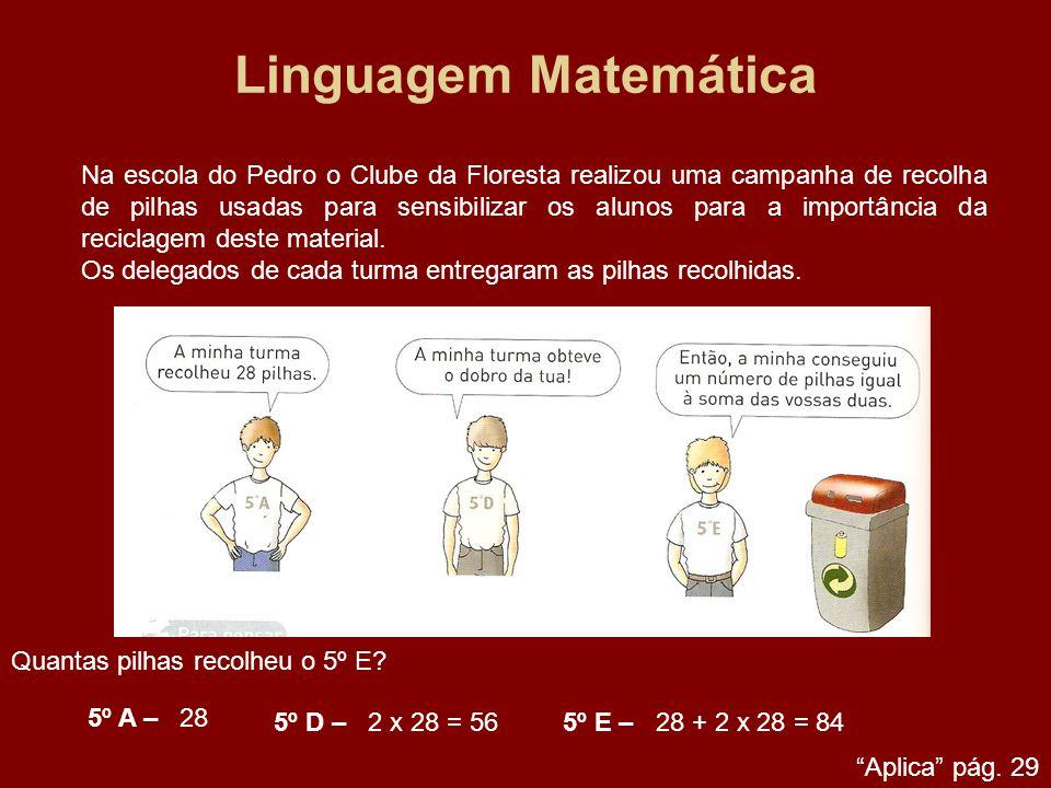 Linguagem Matemática Na escola do Pedro o Clube da Floresta realizou uma campanha de recolha de pilhas usadas para sensibilizar os alunos para a impor