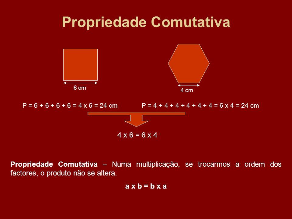 Propriedade Comutativa 6 cm 4 cm P = 6 + 6 + 6 + 6 = 4 x 6 = 24 cmP = 4 + 4 + 4 + 4 + 4 + 4 = 6 x 4 = 24 cm 4 x 6 = 6 x 4 Propriedade Comutativa – Num
