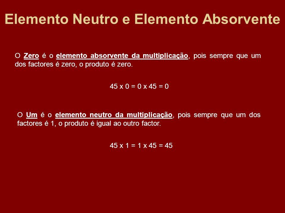 Elemento Neutro e Elemento Absorvente O Zero é o elemento absorvente da multiplicação, pois sempre que um dos factores é zero, o produto é zero. 45 x