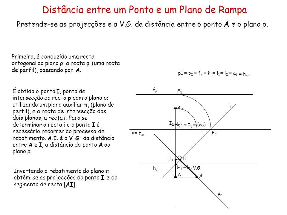 Distância entre um Ponto e um Plano de Rampa Pretende-se as projecções e a V.G. da distância entre o ponto A e o plano ρ. x A1A1 A2A2 fρfρ hρhρ Primei