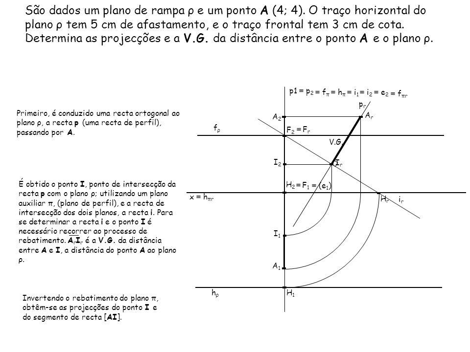 São dados um plano de rampa ρ e um ponto A (4; 4). O traço horizontal do plano ρ tem 5 cm de afastamento, e o traço frontal tem 3 cm de cota. Determin