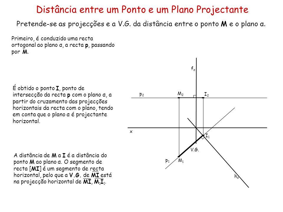 Distância entre um Ponto e um Plano Projectante Pretende-se as projecções e a V.G. da distância entre o ponto M e o plano α. x Primeiro, é conduzido u