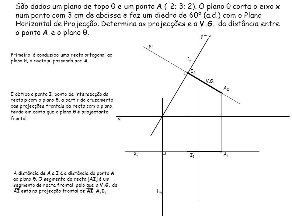 São dados um plano de topo θ e um ponto A (-2; 3; 2). O plano θ corta o eixo x num ponto com 3 cm de abcissa e faz um diedro de 60º (a.d.) com o Plano