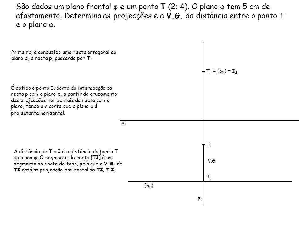 São dados um plano frontal φ e um ponto T (2; 4). O plano φ tem 5 cm de afastamento. Determina as projecções e a V.G. da distância entre o ponto T e o
