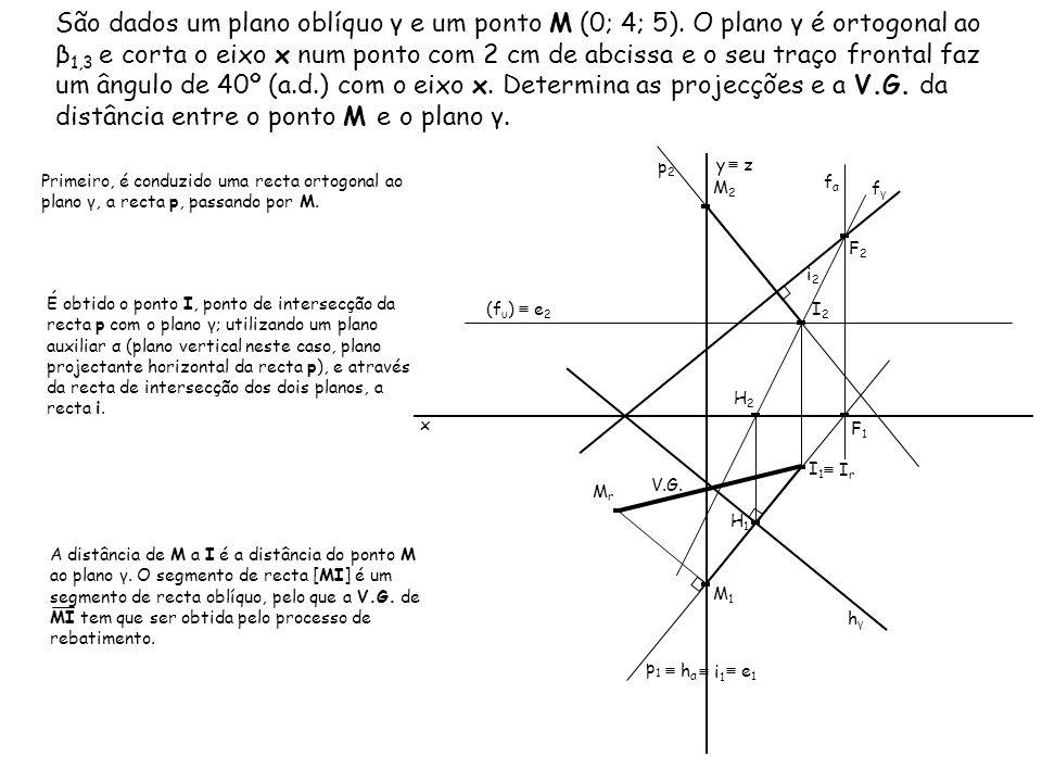 São dados um plano oblíquo γ e um ponto M (0; 4; 5). O plano γ é ortogonal ao β 1,3 e corta o eixo x num ponto com 2 cm de abcissa e o seu traço front