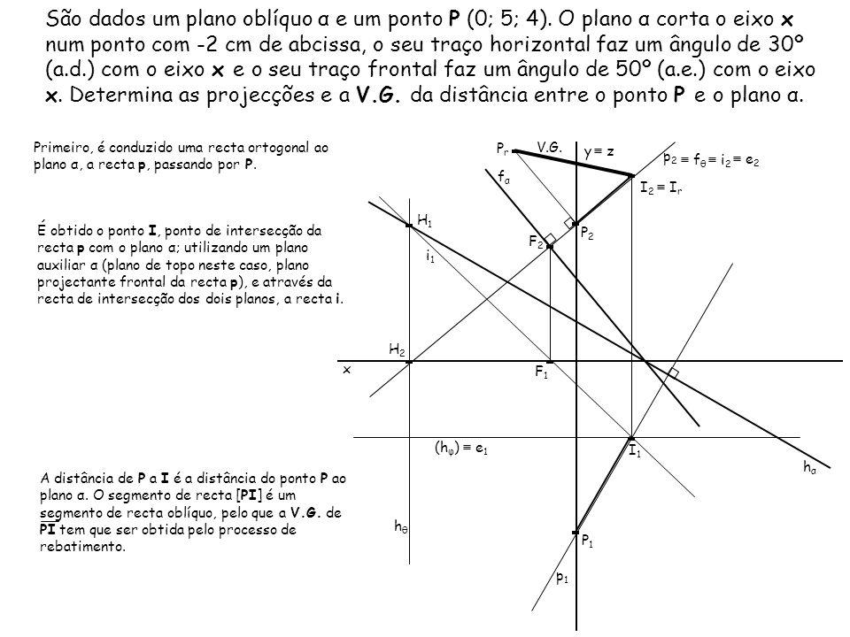 São dados um plano oblíquo α e um ponto P (0; 5; 4). O plano α corta o eixo x num ponto com -2 cm de abcissa, o seu traço horizontal faz um ângulo de