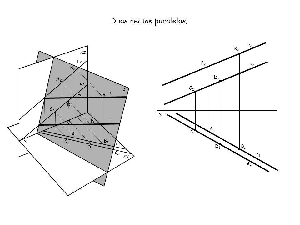 x xz xy α A B A1A1 A2A2 B2B2 B1B1 Duas rectas concorrentes; x A2A2 A1A1 B1B1 B2B2 s2s2 r1r1 r2r2 r1r1 r C2C2 C1C1 C s1s1 C1C1 C2C2 r2r2 s2s2 s1s1 s