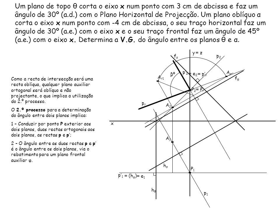 Um plano de topo θ corta o eixo x num ponto com 3 cm de abcissa e faz um ângulo de 30º (a.d.) com o Plano Horizontal de Projecção. Um plano oblíquo α