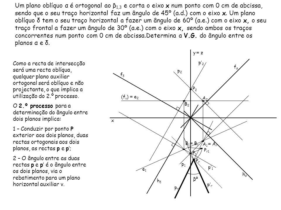 Um plano oblíquo α é ortogonal ao β 1,3 e corta o eixo x num ponto com 0 cm de abcissa, sendo que o seu traço horizontal faz um ângulo de 45º (a.d.) c