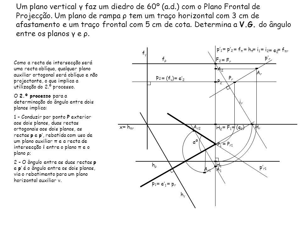 Um plano vertical γ faz um diedro de 60º (a.d.) com o Plano Frontal de Projecção. Um plano de rampa ρ tem um traço horizontal com 3 cm de afastamento