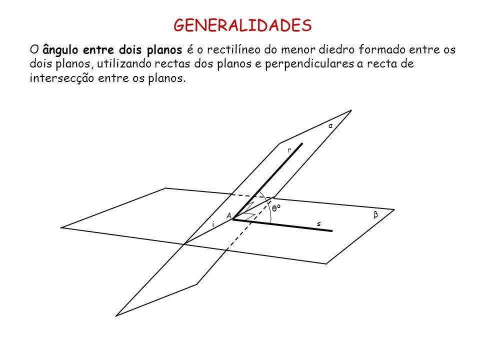 GENERALIDADES O ângulo entre dois planos é o rectilíneo do menor diedro formado entre os dois planos, utilizando rectas dos planos e perpendiculares a