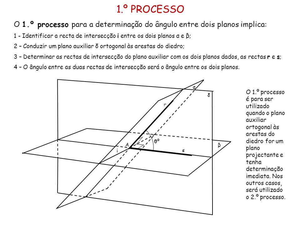 1.º PROCESSO O 1.º processo para a determinação do ângulo entre dois planos implica: 1 - Identificar a recta de intersecção i entre os dois planos α e