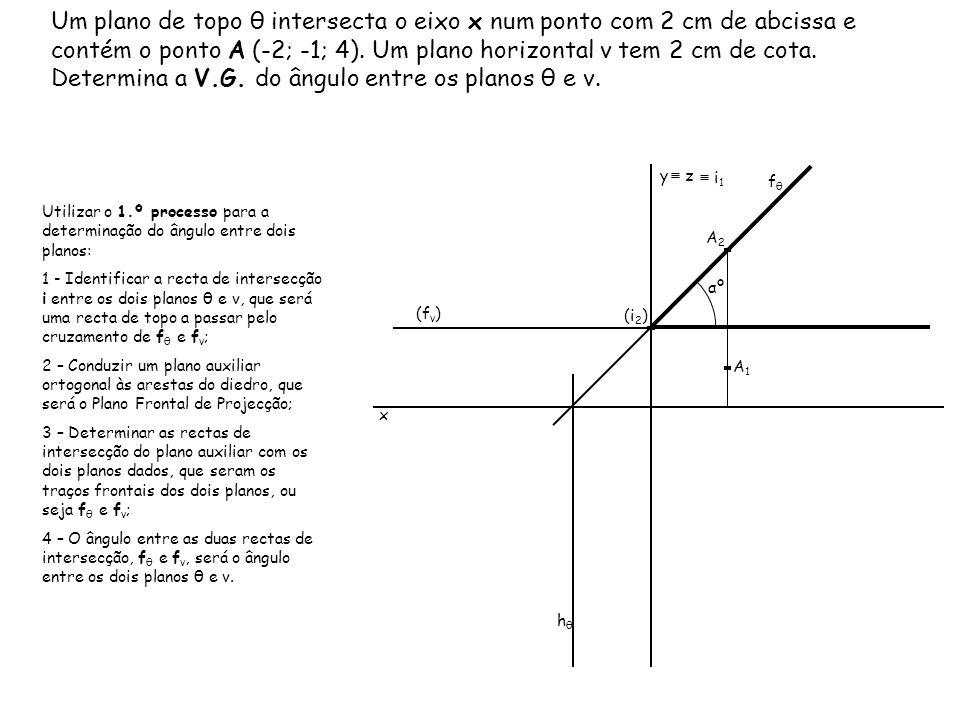 Um plano de topo θ intersecta o eixo x num ponto com 2 cm de abcissa e contém o ponto A (-2; -1; 4). Um plano horizontal ν tem 2 cm de cota. Determina