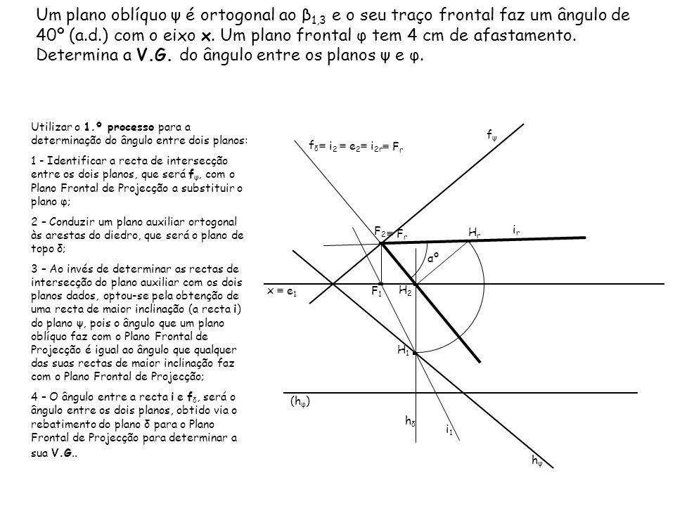 Um plano oblíquo ψ é ortogonal ao β 1,3 e o seu traço frontal faz um ângulo de 40º (a.d.) com o eixo x. Um plano frontal φ tem 4 cm de afastamento. De