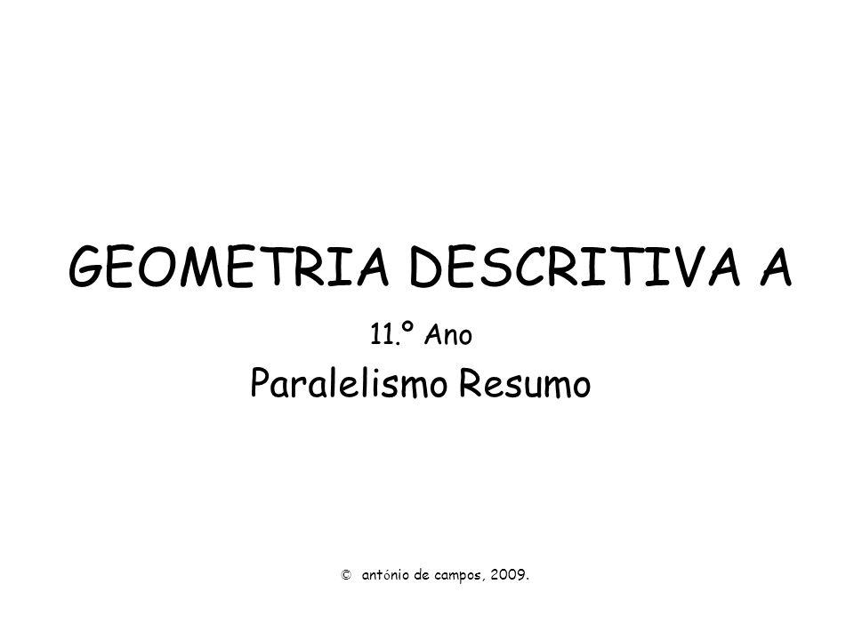 recta – recta, geral: Rectas paralelas e complanares, sem ponto em comum, via os paralelos das suas projecções frontal e horizontal.