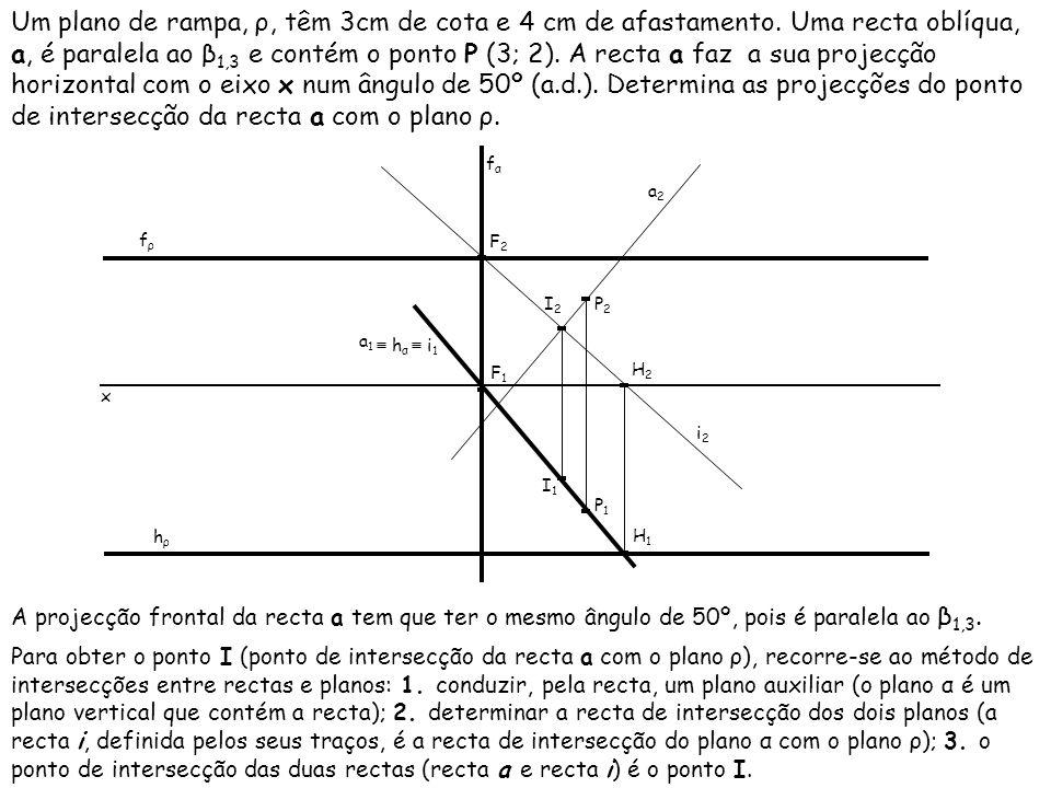 Um plano de rampa, ρ, têm 3cm de cota e 4 cm de afastamento. Uma recta oblíqua, a, é paralela ao β 1,3 e contém o ponto P (3; 2). A recta a faz a sua