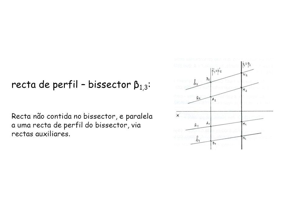 recta de perfil – bissector β 1,3 : Recta não contida no bissector, e paralela a uma recta de perfil do bissector, via rectas auxiliares.