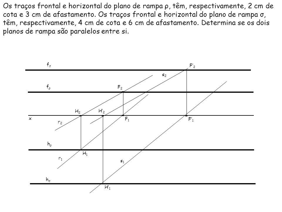 Os traços frontal e horizontal do plano de rampa ρ, têm, respectivamente, 2 cm de cota e 3 cm de afastamento. Os traços frontal e horizontal do plano