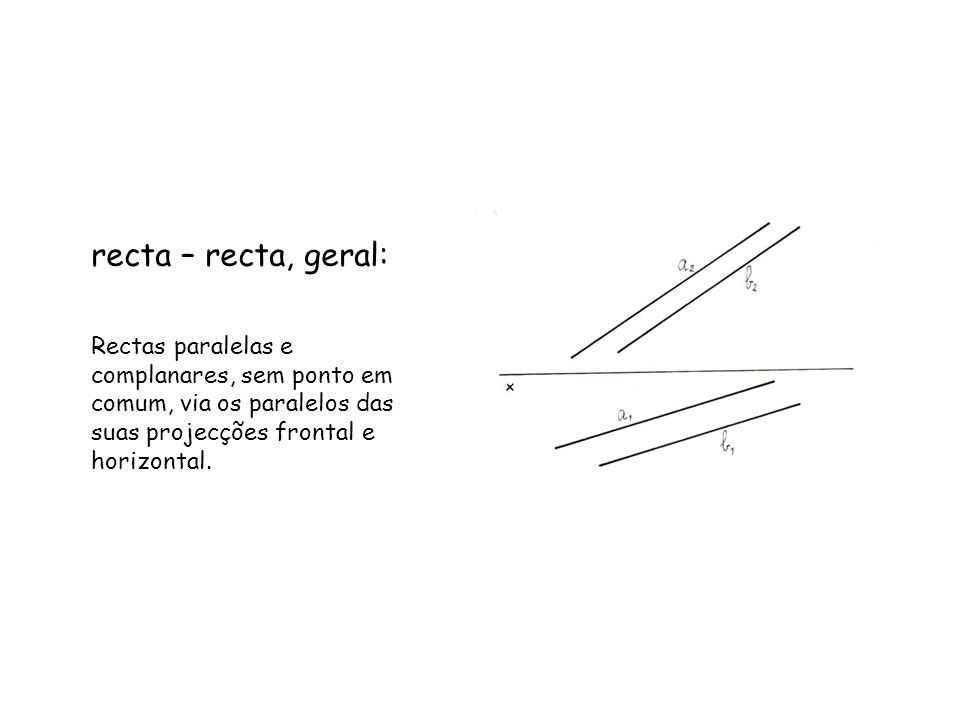 Uma recta h, horizontal (de nível), com 2 cm de cota, faz com o Plano Frontal de Projecção, um ângulo de 45º (a.e.).
