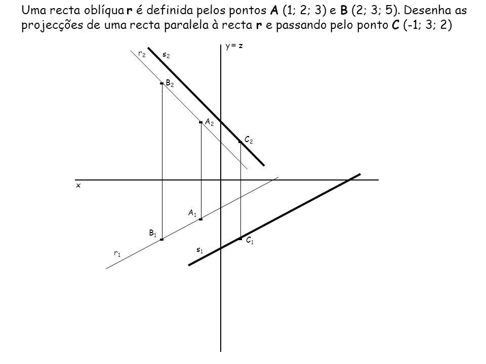 Uma recta oblíqua r é definida pelos pontos A (1; 2; 3) e B (2; 3; 5). Desenha as projecções de uma recta paralela à recta r e passando pelo ponto C (
