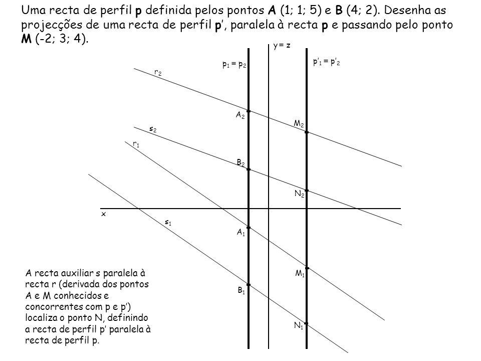 Uma recta de perfil p definida pelos pontos A (1; 1; 5) e B (4; 2). Desenha as projecções de uma recta de perfil p, paralela à recta p e passando pelo