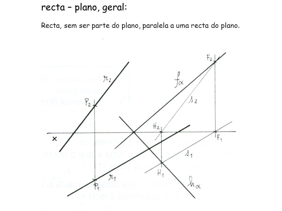 Os traços de um plano oblíquo α são concorrentes num ponto com –2 de abcissa, que fazem com o eixo x ângulos de 60º (a.d.) e 30º (a.e.), respectivamente em relação ao f α e h α.