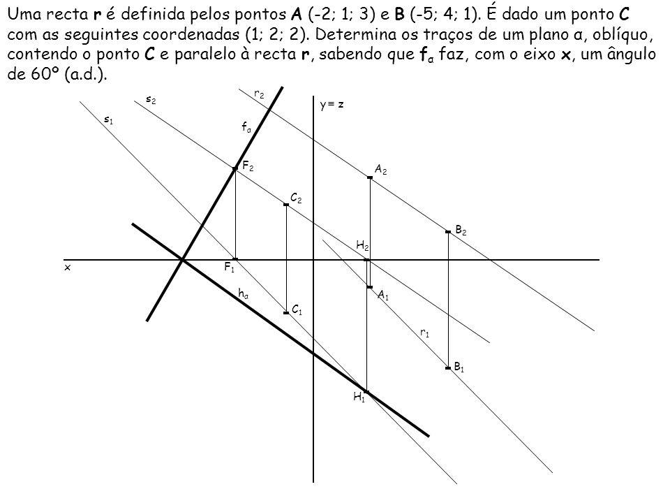 Uma recta r é definida pelos pontos A (-2; 1; 3) e B (-5; 4; 1). É dado um ponto C com as seguintes coordenadas (1; 2; 2). Determina os traços de um p