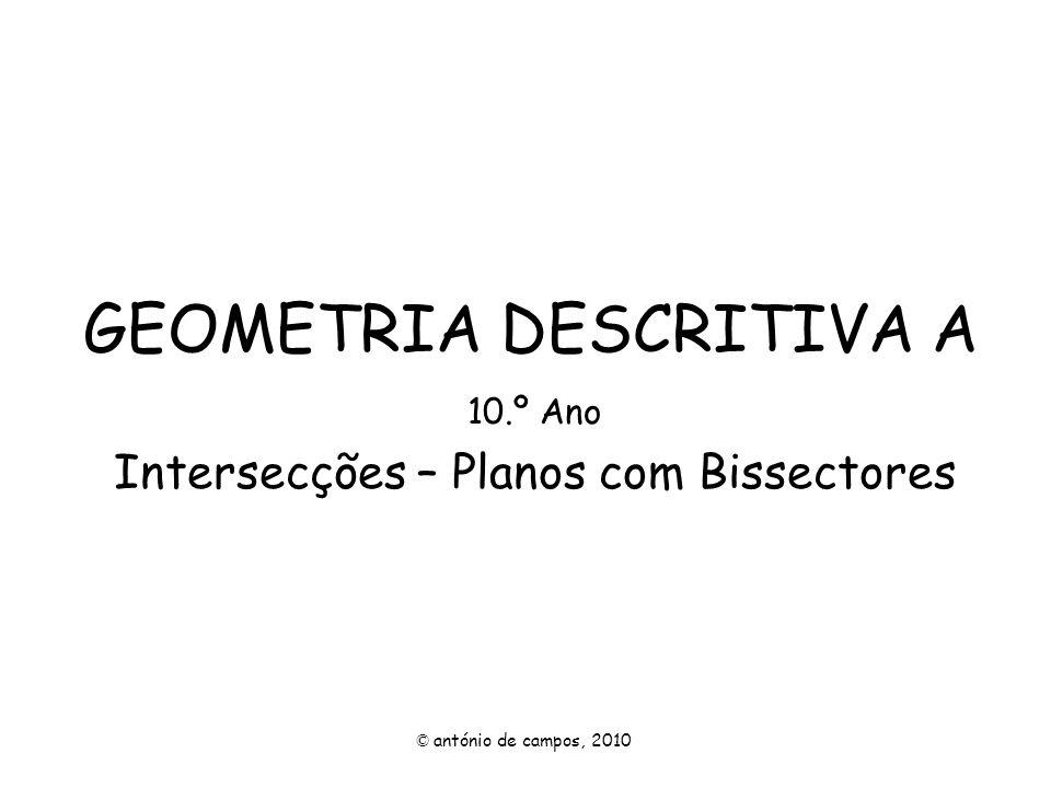 GEOMETRIA DESCRITIVA A 10.º Ano Intersecções – Planos com Bissectores © antónio de campos, 2010