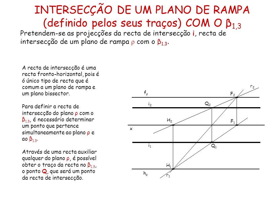 INTERSECÇÃO DE UM PLANO DE RAMPA (definido pelos seus traços) COM O β 1,3 Pretendem-se as projecções da recta de intersecção i, recta de intersecção d