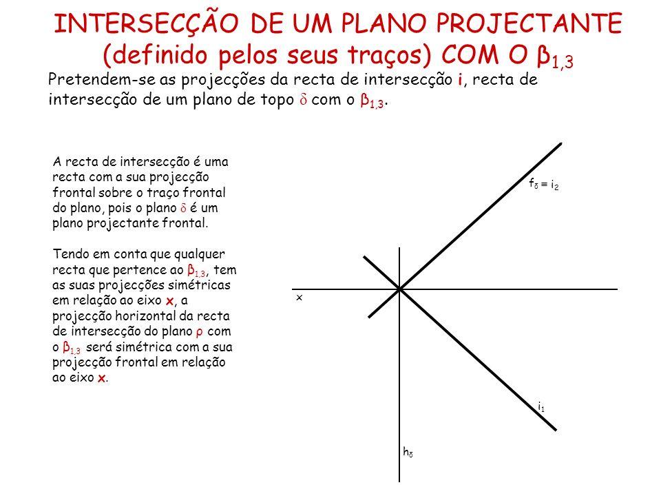 INTERSECÇÃO DE UM PLANO PROJECTANTE (definido pelos seus traços) COM O β 1,3 Pretendem-se as projecções da recta de intersecção i, recta de intersecçã