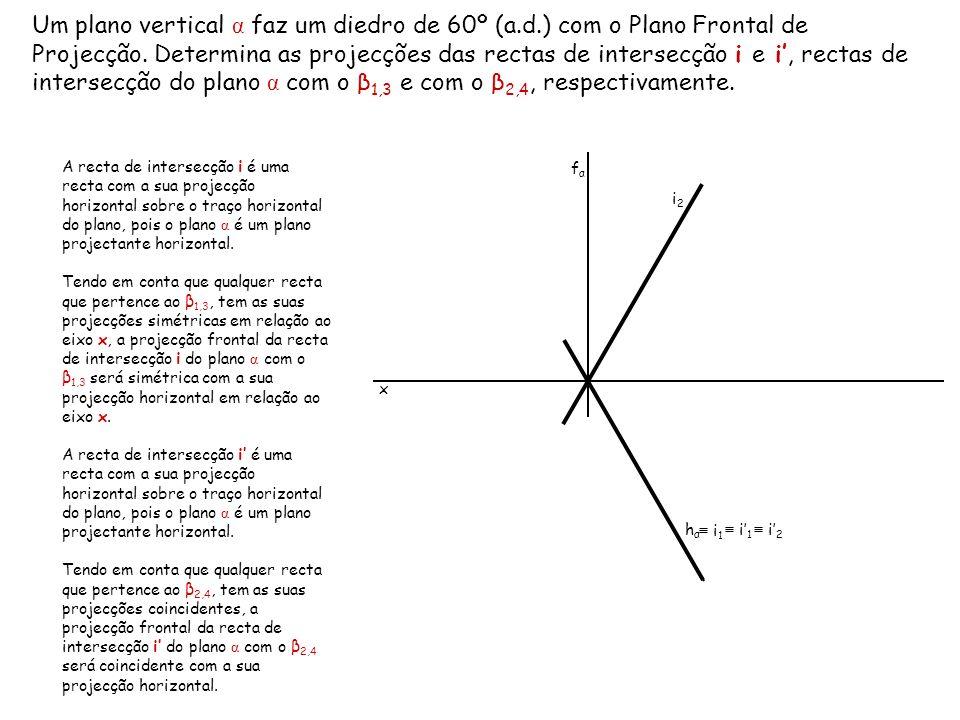Um plano vertical α faz um diedro de 60º (a.d.) com o Plano Frontal de Projecção. Determina as projecções das rectas de intersecção i e i, rectas de i