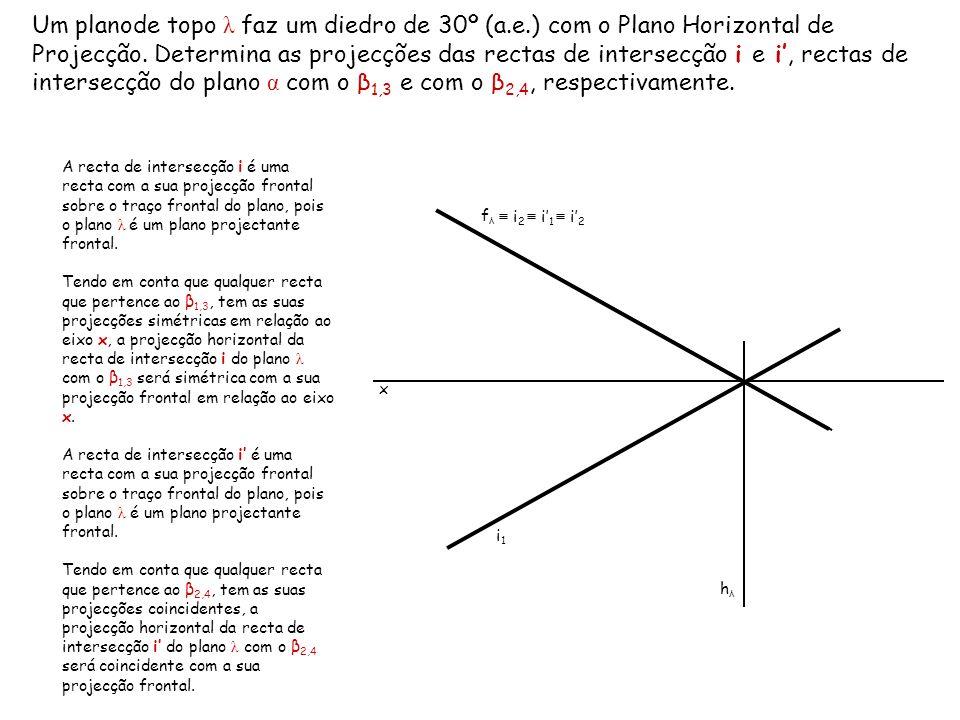 Um planode topo λ faz um diedro de 30º (a.e.) com o Plano Horizontal de Projecção. Determina as projecções das rectas de intersecção i e i, rectas de