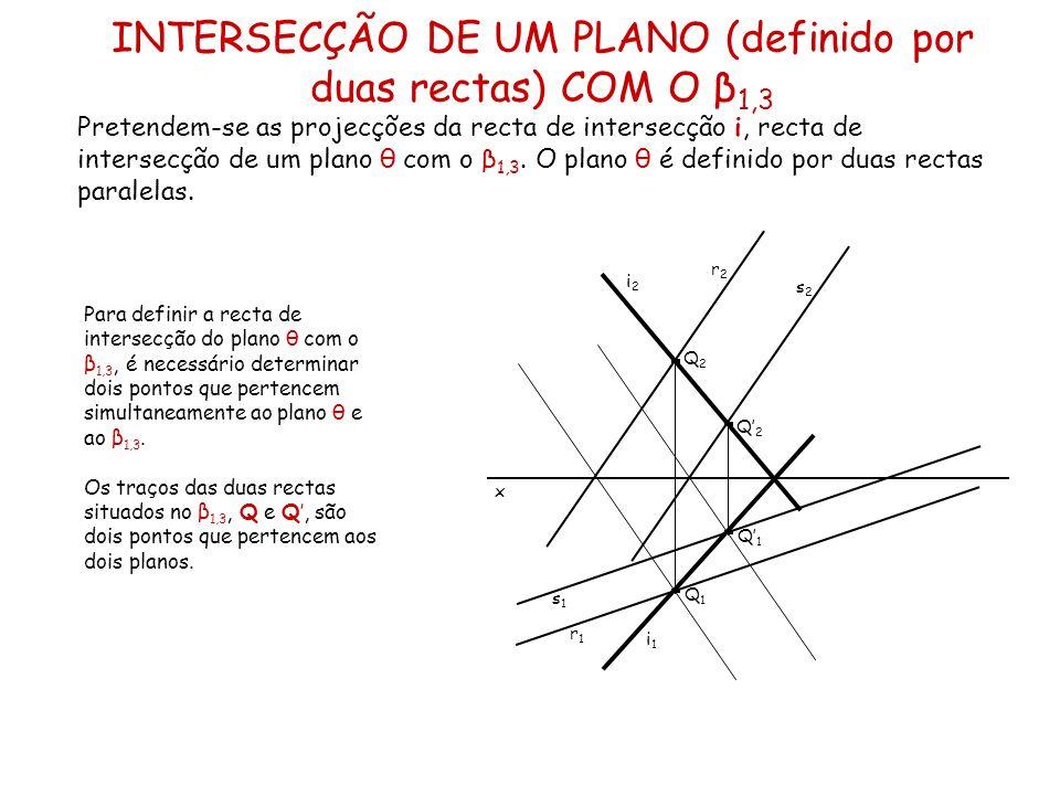 INTERSECÇÃO DE UM PLANO (definido por duas rectas) COM O β 1,3 Pretendem-se as projecções da recta de intersecção i, recta de intersecção de um plano