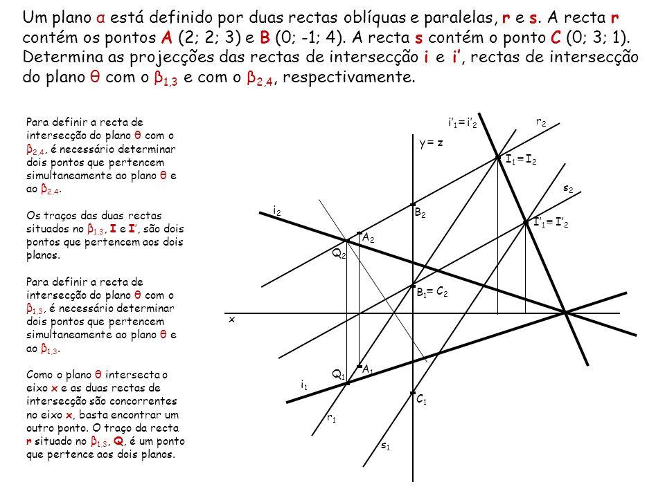 Um plano α está definido por duas rectas oblíquas e paralelas, r e s. A recta r contém os pontos A (2; 2; 3) e B (0; -1; 4). A recta s contém o ponto