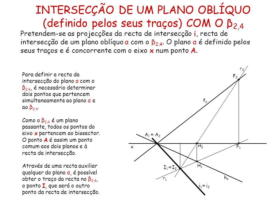 Um plano oblíquo θ é definido pelo seu traço horizontal que faz um ângulo de 30º (a.d.) com o eixo x, e o seu traço frontal que faz um ângulo de 45º (a.d.) com o eixo x.