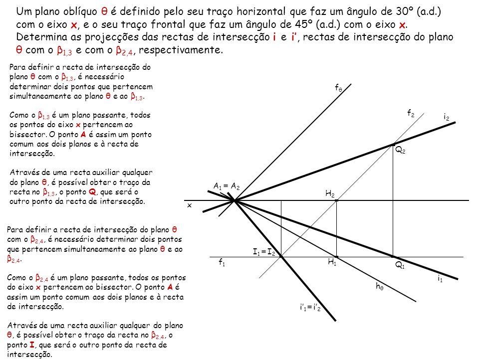 Um plano oblíquo θ é definido pelo seu traço horizontal que faz um ângulo de 30º (a.d.) com o eixo x, e o seu traço frontal que faz um ângulo de 45º (