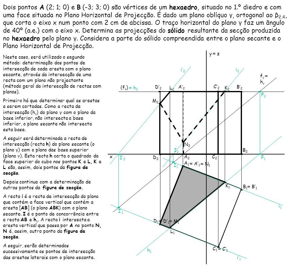 Dois pontos A (2; 1; 0) e B (-3; 3; 0) são vértices de um hexaedro, situado no 1.º diedro e com uma face situada no Plano Horizontal de Projecção. É d
